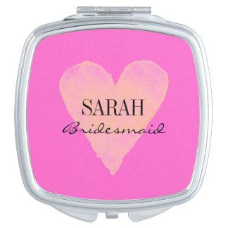 Espejo rosado personalizado del acuerdo del espejos de viaje