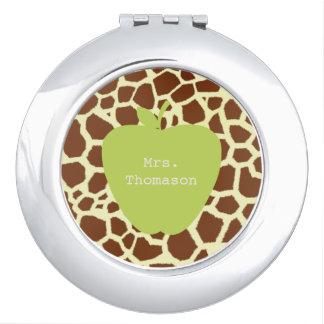 Espejo verde del acuerdo del profesor de la jirafa espejos compactos