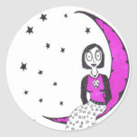 Espeluznante sobre la luna pegatina redonda