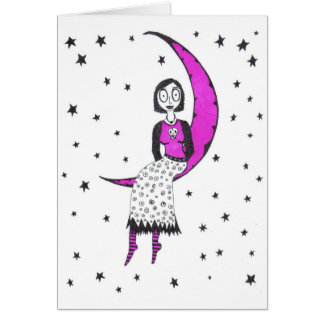 Espeluznante sobre la luna y las estrellas tarjeta de felicitación