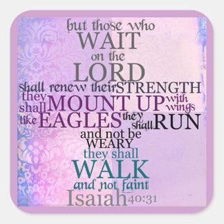 Espera en el señor (40:31 de Isaías) Pegatina Cuadrada