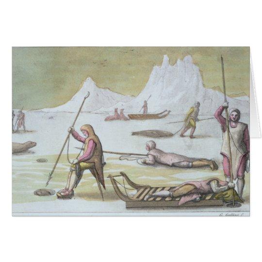 Esperando en el hielo, detalle de la caza de focas tarjeta de felicitación