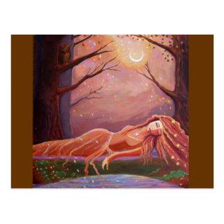 Esperando un sueño - postal del arte de la fantasí