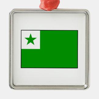 Esperanto - bandera de Esperantist Adorno Navideño Cuadrado De Metal