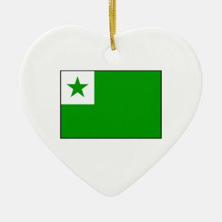 Esperanto - bandera de Esperantist Adorno Navideño De Cerámica En Forma De Corazón