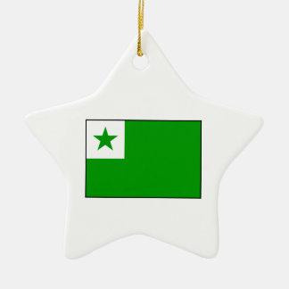 Esperanto - bandera de Esperantist Adorno Navideño De Cerámica En Forma De Estrella