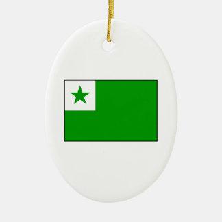 Esperanto - bandera de Esperantist Adorno Navideño Ovalado De Cerámica