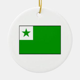 Esperanto - bandera de Esperantist Adorno Navideño Redondo De Cerámica