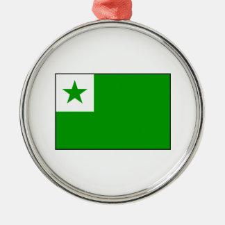 Esperanto - bandera de Esperantist Adorno Navideño Redondo De Metal