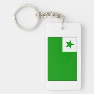 Esperanto - bandera de Esperantist Llavero Rectangular Acrílico A Doble Cara