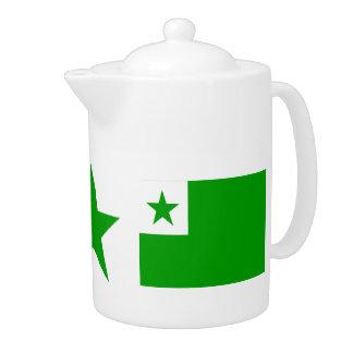Esperanto: Green Star & Esperanto Flags Teapot