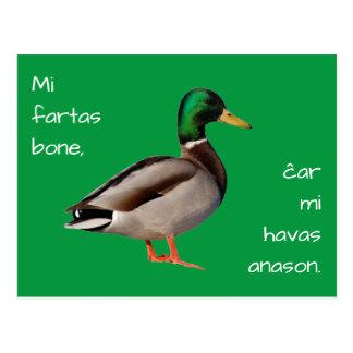 Esperanto: Mi fartas bone, ĉar mi havas anason. Postcard
