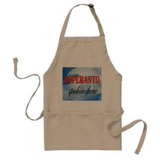 Esperanto spoken here cloudy earth adult apron