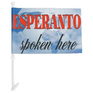 Esperanto spoken here cloudy earth car flag