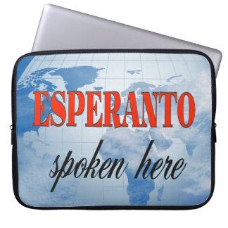 Esperanto spoken here cloudy earth computer sleeve