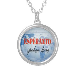 Esperanto spoken here cloudy earth silver plated necklace