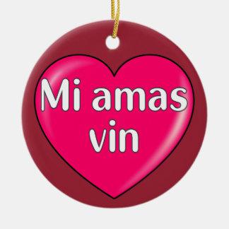 Esperanto - te amo adorno navideño redondo de cerámica