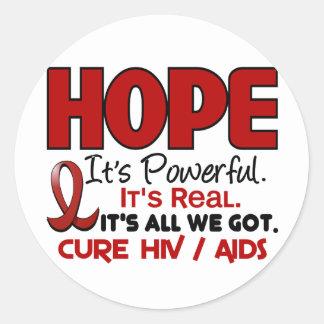 ESPERANZA 1 DEL VIH DEL SIDA PEGATINA REDONDA