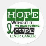 ESPERANZA 2 del cáncer de hígado Pegatina Redonda