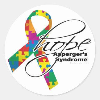 Esperanza 2 del síndrome de Asperger Pegatina Redonda