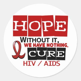 ESPERANZA 2 DEL VIH DEL SIDA PEGATINA REDONDA