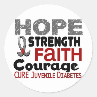 ESPERANZA 3 de la diabetes juvenil Pegatina Redonda