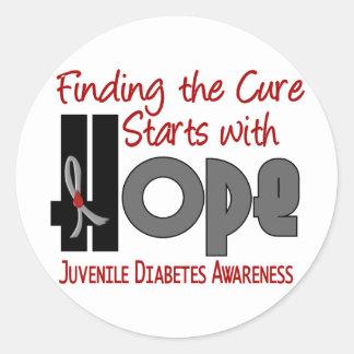 ESPERANZA 4 de la diabetes juvenil Pegatina Redonda