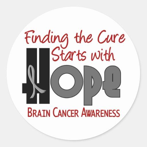 ESPERANZA 4 del cáncer de cerebro Pegatinas Redondas