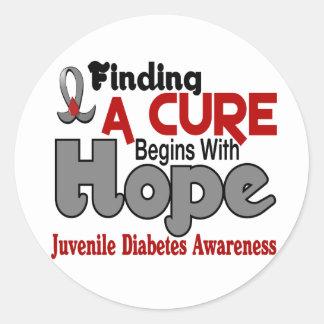 ESPERANZA 5 de la diabetes juvenil Pegatina Redonda