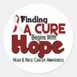 ESPERANZA 5 del cáncer de cabeza y cuello Pegatina Redonda