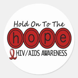 ESPERANZA 6 DEL VIH DEL SIDA PEGATINA REDONDA