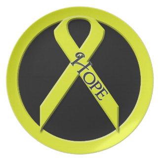 ESPERANZA amarilla de la ayuda de la cinta Platos
