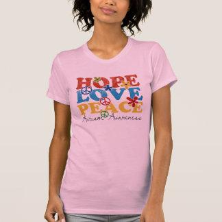 Esperanza, amor, conciencia del autismo de la paz camiseta