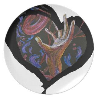 Esperanza - arte del corazón de la célula falcifor platos