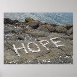 Esperanza - arte del Seashell en la playa Impresiones