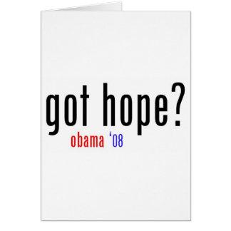 ¿esperanza conseguida? obama 08 tarjeta de felicitación