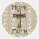 Esperanza cruzada púrpura, pegatinas de la fe pegatina redonda