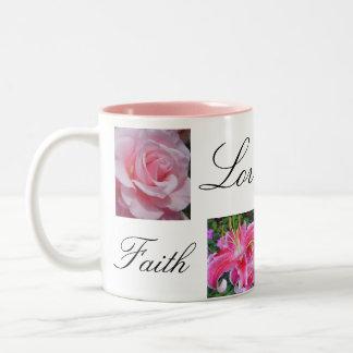 Esperanza de la alegría del amor de la fe taza de dos tonos