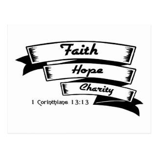 Esperanza de la fe y diseño cristiano de la carida postales