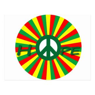 Esperanza de la paz de Rasta Tarjeta Postal