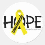 Esperanza de la prevención del suicidio etiquetas redondas