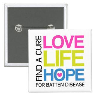 Esperanza de la vida del amor - encuentre una cura pin cuadrada 5 cm