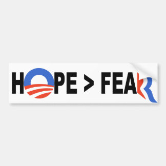 Esperanza de Obama mayor que el miedo Romney 2012 Pegatina De Parachoque