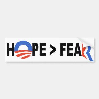Esperanza de Obama mayor que el miedo Romney 2012 Pegatina Para Auto