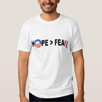 Esperanza de Obama mayor que el miedo Romney 2012 Playeras