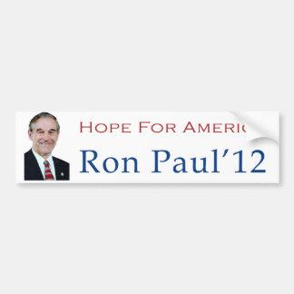 Esperanza de Ron Paul 2012 de América Bumpersticke Pegatina Para Auto