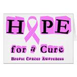 Esperanza de una curación - cáncer de pecho tarjeton
