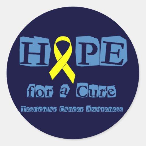 Esperanza de una curación - cinta amarilla pegatina redonda