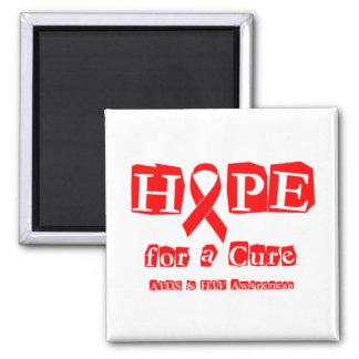 Esperanza de una curación - cinta roja imán cuadrado
