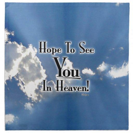 ¡Esperanza de verle en cielo! con las nubes Servilleta